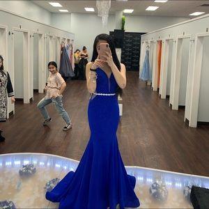 royal blue mermaid prom dress